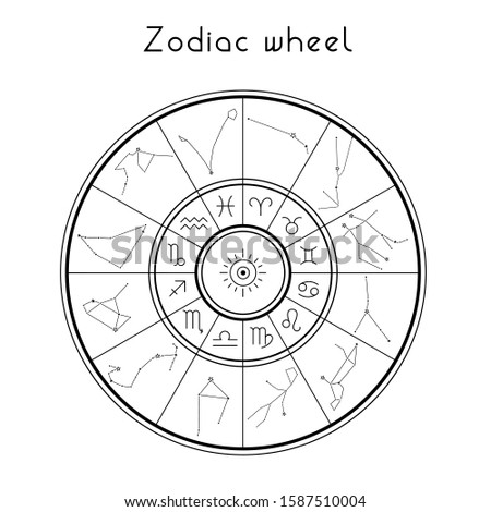 Zodiac Wheel with zodiac signs and constellation