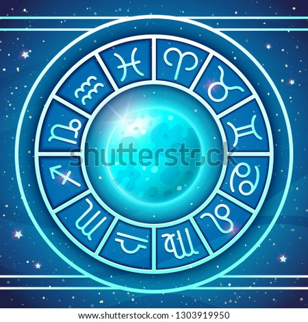 Zodiac Wheel with zodiac signs set with Blue Full Moon, astrological horoscope symbols. Vector illustration