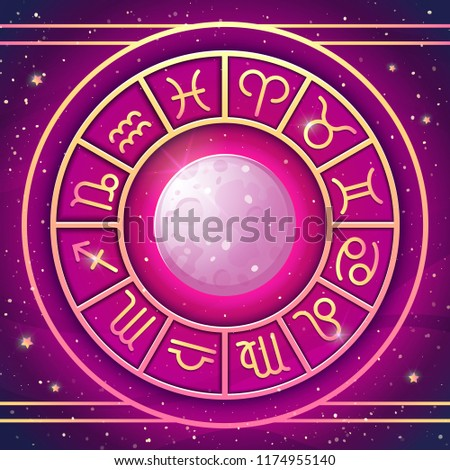 Zodiac Wheel with zodiac signs set with Full Moon, astrological horoscope symbols. Vector illustration