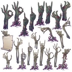 Zombie body language. Set of lifelike rotting zombie hands and skeleton hands rising from under the ground and torn apart. linear drawing isolated on white background. EPS10 vector illustration