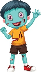 Zombie Boy cartoon vector art and illustration