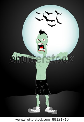 Zombie character with moon and bats