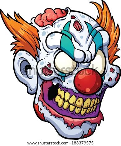 zombie clown head vector clip