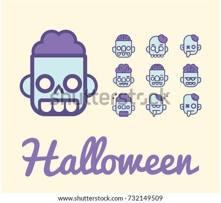 zombie color line vector icon