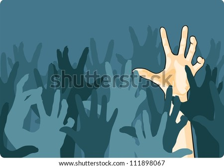 Zombie crowd attacking a man - stock vector