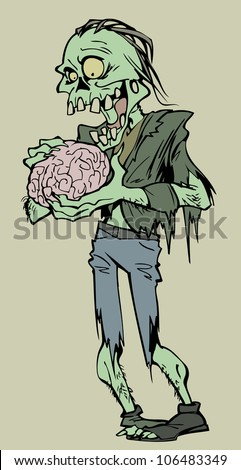 Zombie eating brains - stock vector