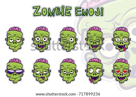 zombie emoji symbols set green