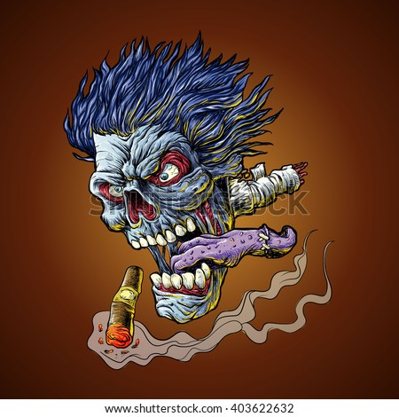 zombie flying head
