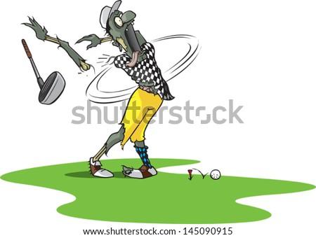 Zombie Golfer. Vector cartoon. - stock vector