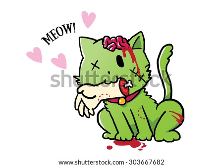 zombie green cat giving a hand