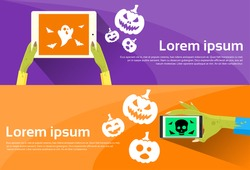 Zombie Hand Halloween Hold Tablet Cell Smart Phone With Ghost Pumpkin Flat Web Banner Set Vector Illustration