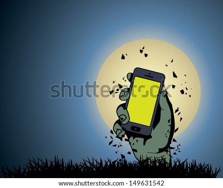 zombie hand holding the phone