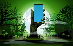 Zombie Hand holding the phone in Moonlight. Smartphone blank screen up from the grave in the cemetery at night. Halloween background