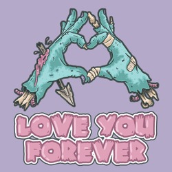 zombie hand love you illustration vector