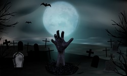 Zombie hand rising from the grave. Graveyard with tombstones and moon. Halloween background. Vector illustration.