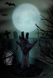 Zombie hand rising from the grave. Graveyard with tombstones and moon. Halloween vertical background. Vector illustration.