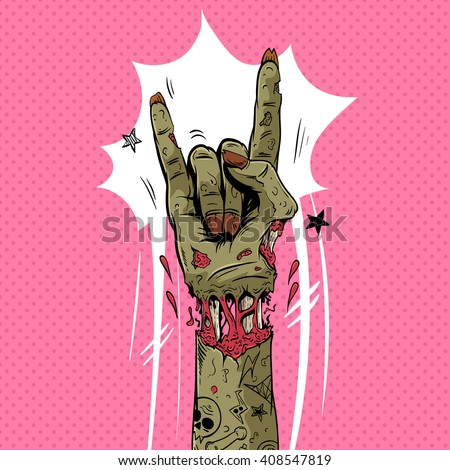 zombie hand shows rock gesture