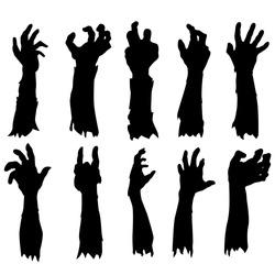 Zombie Hand Silhouette. Clip Art Design Vector. Halloween Scary Grave. Arm Monster Dead.