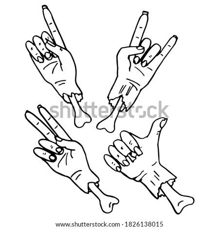 zombie hand sticker set on