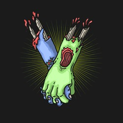 zombie hand togetherness concept illustration vector graphic