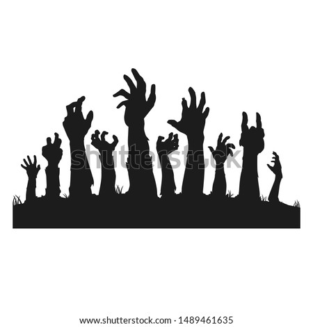 Zombie Hands. Night Flyer Happy Halloween. Design Terror Vector Art Concept.