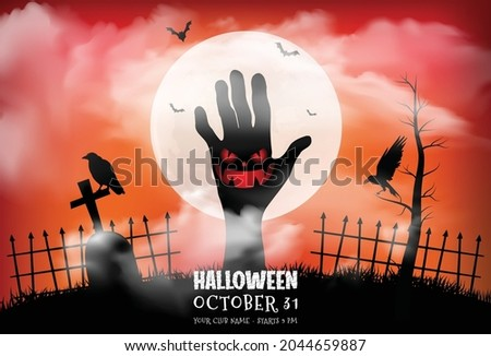 zombie hands rising in dark