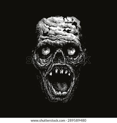 zombie head hand drawn vector