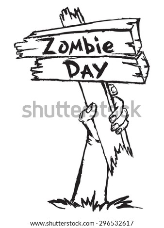 zombie holding a sign with the