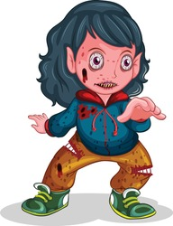 Zombie holding ball cartoon vector art and illustration