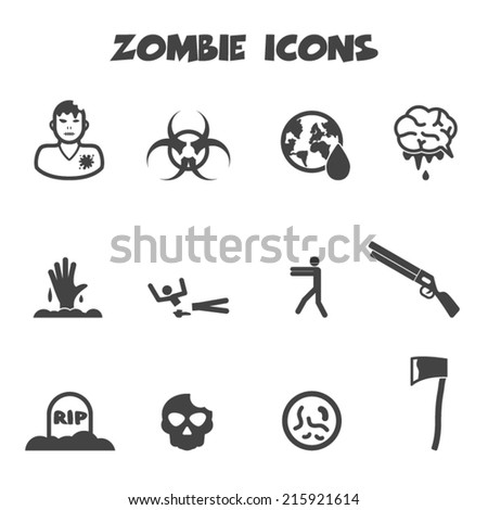zombie icons  mono vector