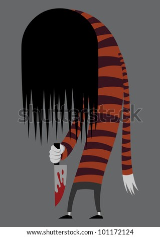 zombie in a striped sweater and knife in hand on gray background