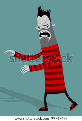 zombie in a striped sweater on purple background