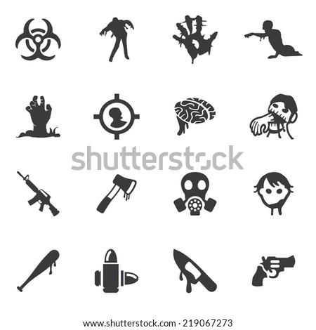 zombie land silhouette icons