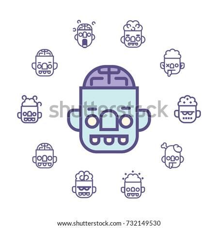 zombie line vector icon set