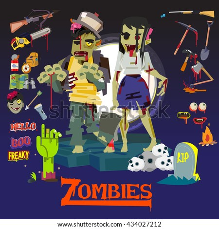 zombie man and women character