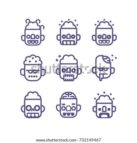 zombie outline vector icon set