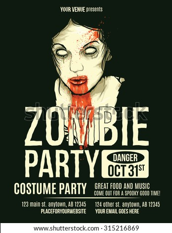 zombie party flyer with