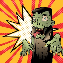 Zombie Pop-art vintage style Vector illustration. Zombie in comic book style, black outlines.
