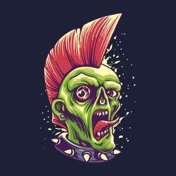 Zombie Punk Style Halloween Illustration