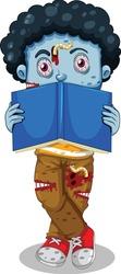 Zombie reading book cartoon vector art and illustration