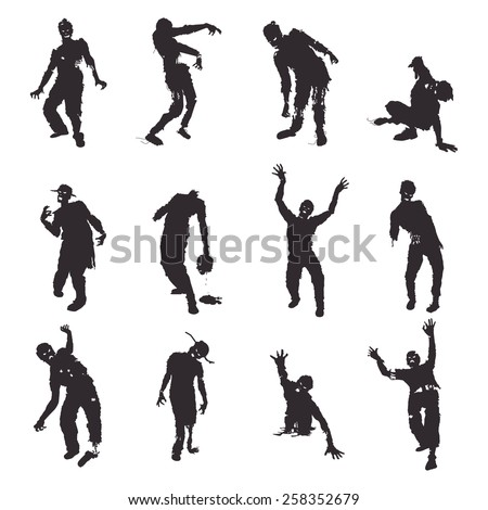stock-vector-zombie-silhouettes-set