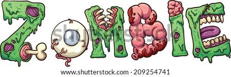 zombie text vector clip art