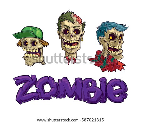 zombie three heads vector full
