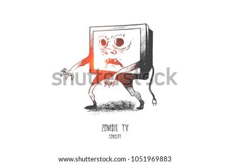 zombie tv concept hand drawn