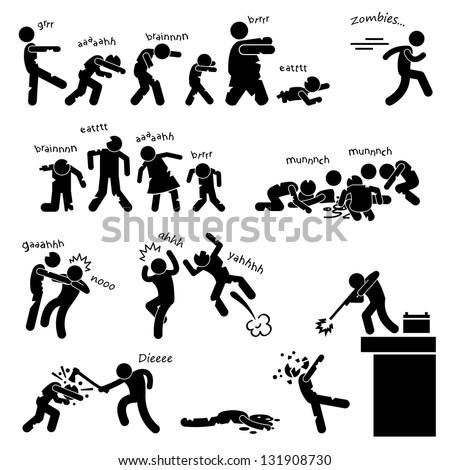 Zombie Undead Attack Apocalypse Survival Defense Outbreak Stick Figure Pictogram Icon