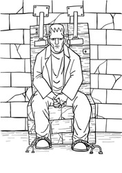 Zombie vector colouring book by hand drawing.Deadman sit on stone chair in halloween night.