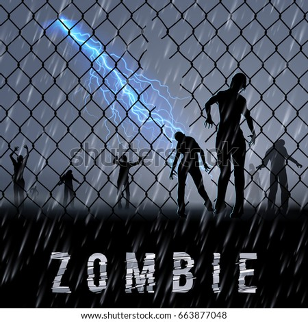 zombie walking at night in a