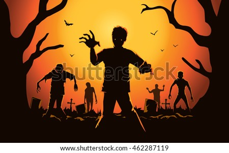 zombie walking out from grave