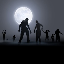Zombie Walking. Silhouettes Illustration for Halloween Creative Poster