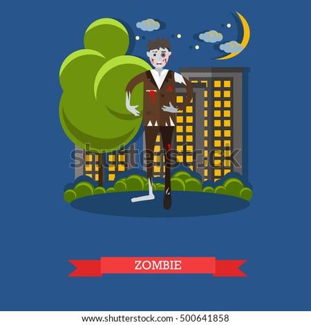 zombie walks on a street happy